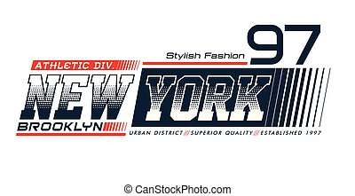 New York Brooklyn 97 typography design with a background of...
