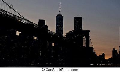 New York, Brooklyn bridge at night in New York City Manhattan US