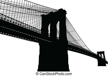 New York Brooklyn Bridge Black Silhouette Vector...