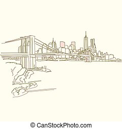 New York Brooklyn Bridge drawing, brown colored version for...