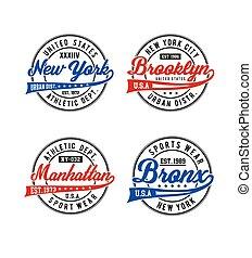 New York, Brooklyn, Manhattan, Bronx typography for t-shirt...