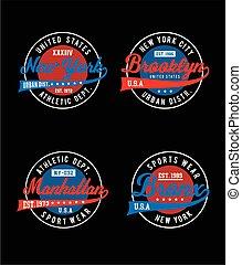 New York, brooklyn, manhattan, bronx, Sportswear typography emblem set