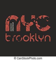 New York Brooklyn t-shirt and apparel vector design, print, typo