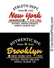 New York Brooklyn Typographic design with a background of...