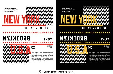 New York, Brooklyn Typography For T-shirt Print