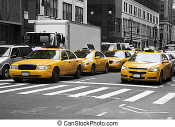 New York Cabs - New York cabs at a busy crossing