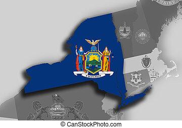 new york carte, et, drapeau