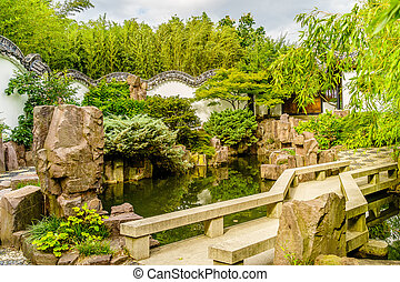 Chinese rockery garden with pond and waterfall stock photography search pictures and photo for New york chinese scholar s garden