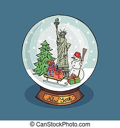 New york Christmas Snow globe - Merry Christmas snow globe...