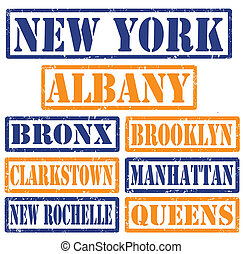 New York Cities stamps - Set of New York cities stamps on...