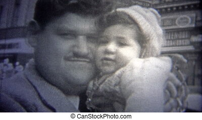 NEW YORK CITY - 1946: Dad kissing child - Original vintage...
