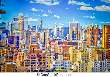 New York City, Aerial View of the Upper East Side