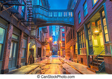 Alley in the Tribeca neighborhood in New York City.