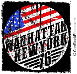 New York City america flag vector print and varsity. For t-shirt or other uses in vector.T shirt graphic