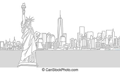 New York City and Lady Liberty Vector Illustration