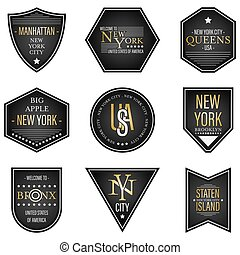New York City and USA vector dark labels.