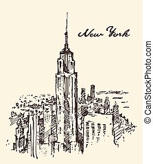 New York city architecture vintage drawn