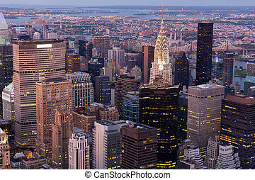 new york city at early evening - amazing above view to new...