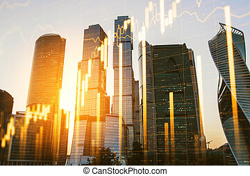 New York city background with forex chart. Trade and market concept. Multiexposure