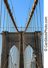 New York City Brooklyn Bridge in Manhattan closeup with skyscrapers