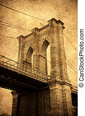 New York City Brooklyn bridge old fashion style close up.