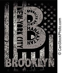 New York City, Brooklyn. Stylized American flag. Grunge background. Typography, t-shirt graphics, poster