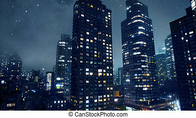 New York City buildings in winter