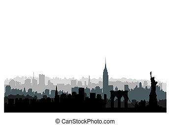 New York City buildings silhouette. American urban landscape. New-York cityscape with landmarks. Travel USA skyline background.