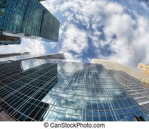 New York City buildings, upward view