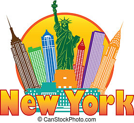 new york city, bunte, skyline, in, kreis, abbildung