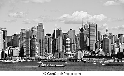 new york city, b&w, horisont, över, hudson flod