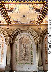 New York City central park Bethesda Terrace underpass arcade det