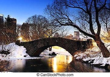 New York City Central Park bridge in winter