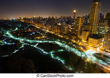 New York City Central Park panorama aerial view at dark night