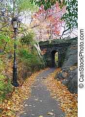 Stone bridge in Autumn in New York City Central park.