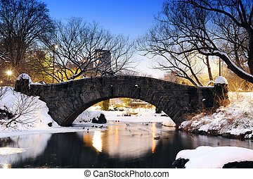 new york city, centralen parkerar, bro, in, vinter