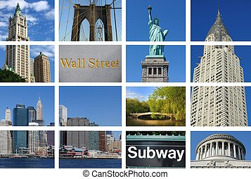 New York City Collage - Collage of New York city and famous...