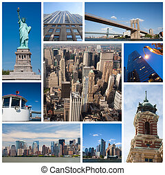 New York city collage - New York city landmarks and tourist...