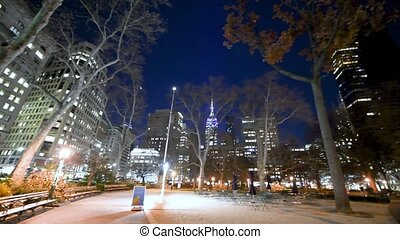 NEW YORK CITY - DECEMBER 2018: Manhattan Square with tables ...
