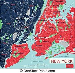 New York city detailed editable map