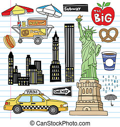 New York City Manhattan Notebook Doodle Design Elements Set on Lined Sketchbook Paper Background- Hand Drawn Vector Illustration