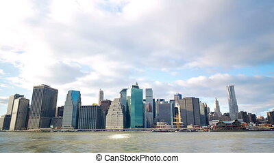 New York City downtown and Manhattan skyline time lapse