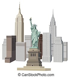 New York City - Illustration with New York City skyline and...