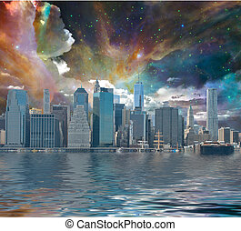 New York City Fantasy - Fantasy New York City world trade...