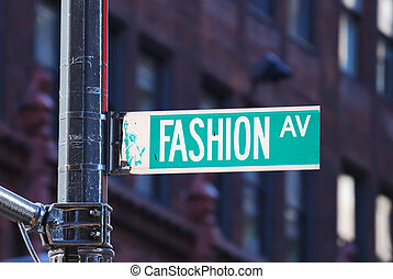 New York City Fashion avenue road sign in midtown Manhattan