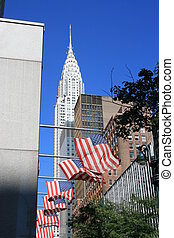 New York City - Flags and the Chrysler Building in...