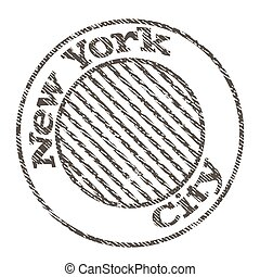 New York city flat color illustration