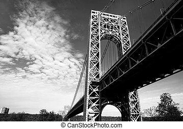 New York City George Washington Bridge - A black and white...