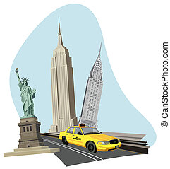 New York City - Illustration with skyscrapers, Statue of...