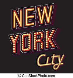 New York City lettering in the form of illuminated signs with a neon effect or individual light bulb pattern on a dark background fonts are slightly angled vector illustration